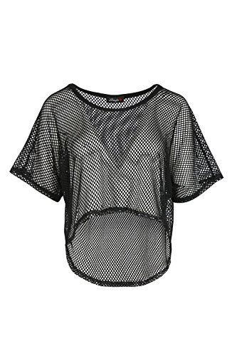 Oops Outlet Ladies Short Sleeves See Through Sheer Cropped Top Hi Lo Baggy T Shirt - 51LvJcPvPdL - Oops Outlet Ladies Short Sleeves See Through Sheer Cropped Top Hi Lo Baggy T Shirt