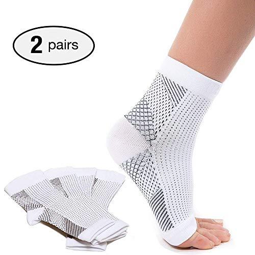 2 paia di calzini a compressione per fascite plantare, per alleviare gonfiore e spina calcaneare, supporto alla caviglia per alleviare rapidamente il dolore, colore bianco