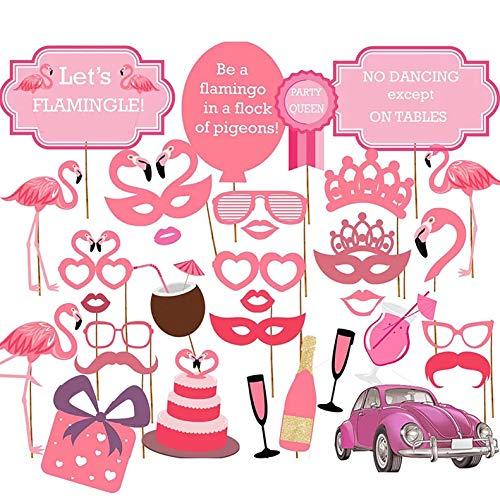 thematys Flamingo Fotobox 32-teilig - Photo Booth Foto-Requisiten & Foto-Accessoires - für witzige & unvergessliche Bilder - Party Sommerfestivals Geburtstage Hochzeit