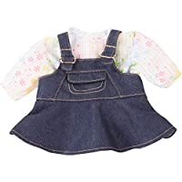 Gotz 3402831 Baby Doll Combo Denim Groove - Size M - Dolls Clothing / Accessory Set - Suitable For Baby Dolls Size M (42 - 46 cm)