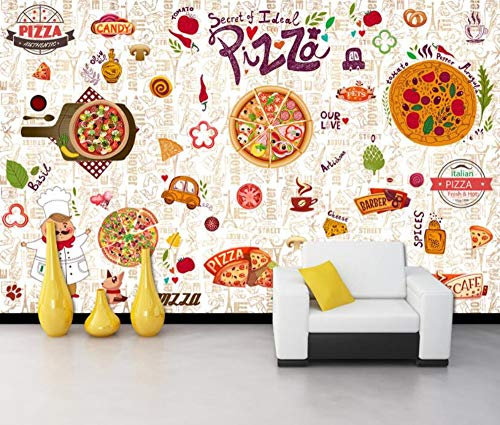 Minyose Custom modern 3D wallpaper western restaurant pizza restaurant store background wall wallpaper mural-400cmx280cm Red Brick Pizza
