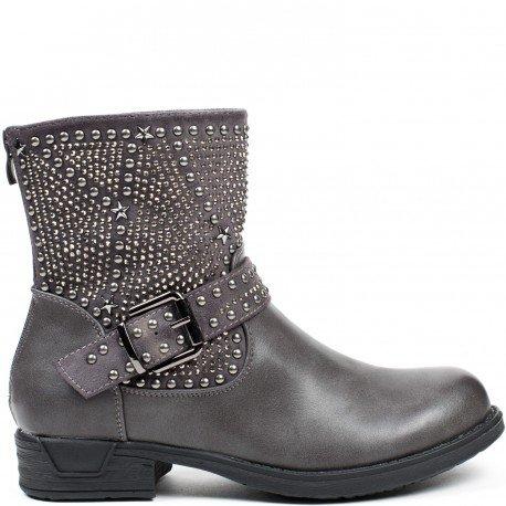 Ideal Shoes - Bottines bimatière avec strass et clous Kanya Gris