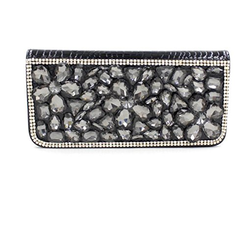 STRAWBERRYER PU Soft Flowers Diamant Fermeture à Glissière Long Clutch Embrayage Ladies Nuptiale Mariage Simple Sac Prom B