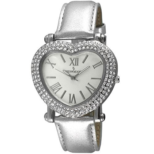 Peugeot Womens Heart Shaped Crystal Watch Silver Strap