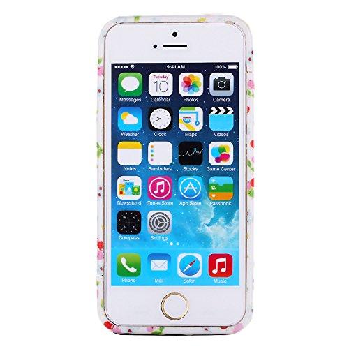 RE:CRON® Bumper Handycase Rahmen für Apple IPhone 5, 5S - Kunststoff - Leopard groß Kirschen weiß-rot