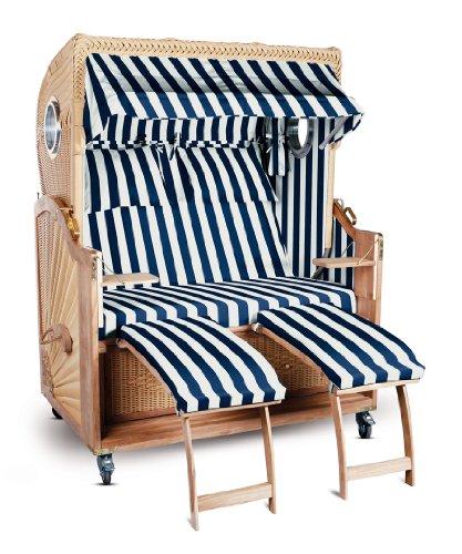 Strandkorb Kampen Spezial Blau Weiß gestreift komplett 2,5-Sitzer Bullauge