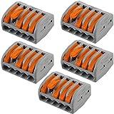 5-Wege-WAGO-Hebelverbinder, elektrischer Steckverbinder, Steckerblock, Wiederverwendbare Beleuchtungsabzweigung, 0,08 mm2 - 4 mm2 Stromkabel, 222-415, 400 V, max. Federarm, Drahthalterung, 5 Stück