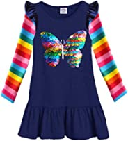 VIKITA Mädchen Kleider Langarm Baumwolle Kinder Kleid Süßes Muster Gr.86-128