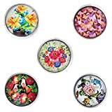 Morella® Damen Click-Button Set 5 Stück Druckknöpfe farbenfrohe Blütenpracht