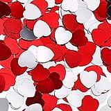 Leinuosen 1000 Pezzi Mini Confetti Cuore di San Valentino Coriandoli, 0.4 Pollici Lamina Metallica Tavola Coriandoli a Forma di Cuore Rosso per San Valentino Nozze Festa Decorazione