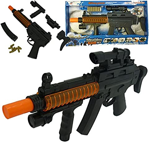 Realistic Army Solider Toy Gun MP5 Police Rifle Prop - Orange Silencer Tactical Target Scope - Battery Powered With Lights, Bullet Caps Sounds and Noise for Kids