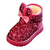 Scothen Kids Girls Button Winter Fur Lined Snow Rain Cozy Casual Warm Boots Cotton Padded Shoes Toddler Shoes Fur Boots Warm Lined Baby Booties Snow Boots