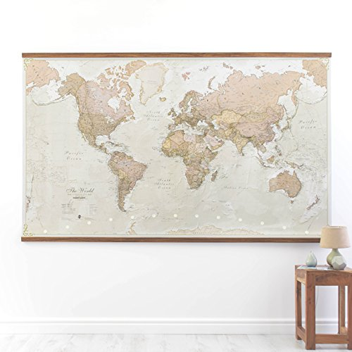 Grande carte du monde Style antiquePlastifiée