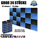 Super Dash (24 Stück) von 25 X 25 X 5 cm Schwarz & Blau Keil Akustikschaumstoff Noppenschaumstoff Akustik Dämmmatte Schallisolierung Schaumstoff Polster Fliesen SD1134 (SCHWARZ & BLAU)