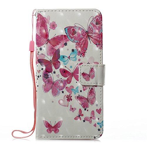 Prechkle Phcases Handyhülle für iPhone XR Hülle Brieftasche Klapphülle mit Standfunktion Kartenfach und Magnetverschluss 3D Effekt Design Tasche aus PU Leder Silikon Schutzhülle Katzen-Schmetterling.