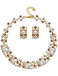 Silver Shoppee 'Pristine Pearl' High Quality Simulated Pearls Jewellery Set For Girls And Women