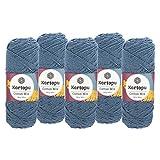 maDDma  5 x 100g Strickgarn Kartopu Cotton Mix Strickwolle Häkelgarn Sommergarn Farbwahl, Farbe:2107S Taubenblau