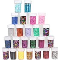 xshelley Glitter Shakers para niños Kid 's manualidades, artes y manualidades con purpurina, la creación de tarjetas, decoración, 24colores surtidos