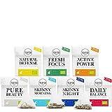 TEATOX Teebeutel Set, Bio, 7 Sorten im Pyramidenbeutel, loser Tee im Grobschnitt in hochwertigen Teebeuteln (7x12 Beutel)