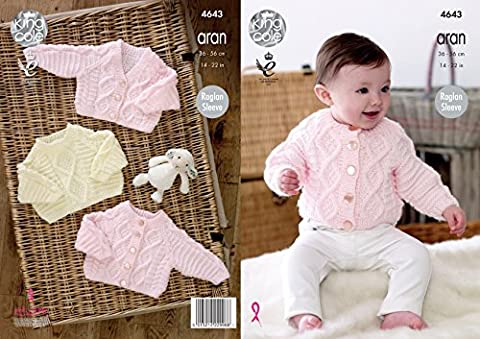 King Cole Baby Aran Knitting Pattern Raglan Sleeve Cable Detail Cardigans & Sweater (4643)