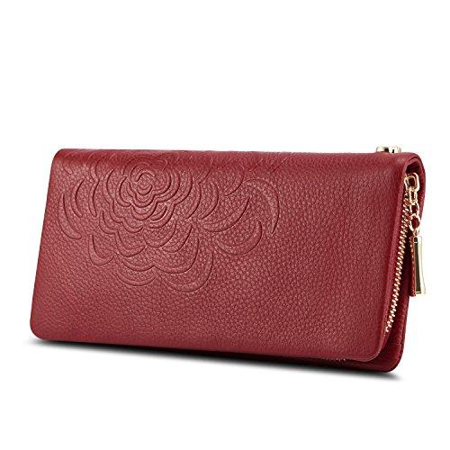 Kattee Damen Fashion Blumen lange Brieftasche Echtes Leder Clutches Geldbeutel(Rot)