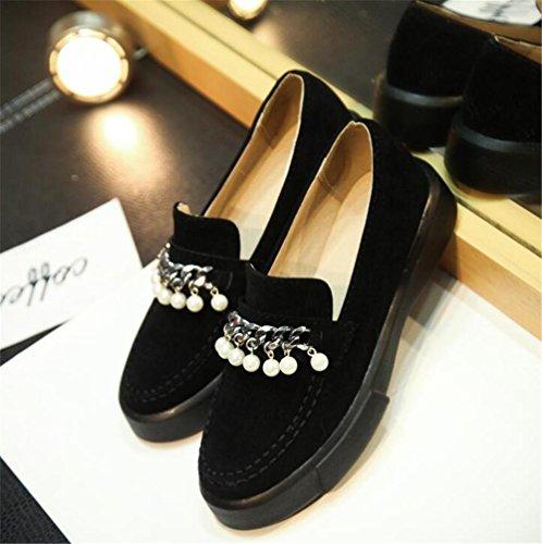 ca2d9c4ef0a5bd Chaussures Pour Femmes Plate-forme Tache En Cuir Métal Boucle Mocassins  Taille 35to42 Noir ...