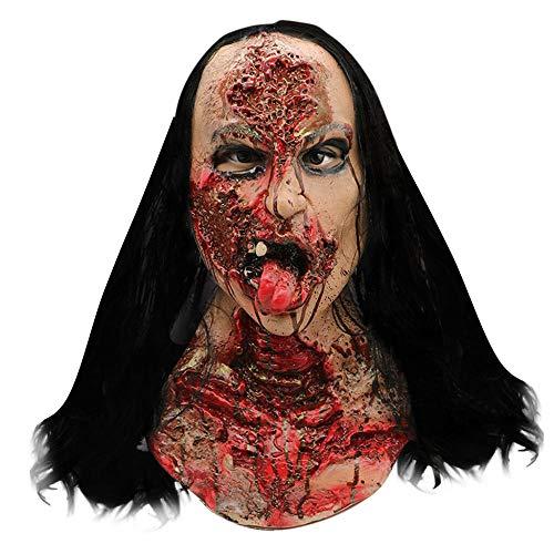 DWcamellia Masken für Erwachsene realistische Latex Perücke Frau Ghost Style Fusion Maske Erwachsenen Gesicht Latex Kostüm Halloween - Für Erwachsene Ghost Gesicht Kostüm