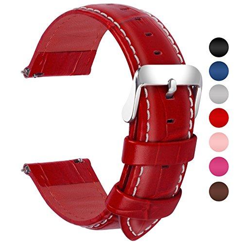 Fullmosa 7 Colori per Cinturini di Ricambio, Bambu Pelle Cinturino/Cinturini/Braccialetto/Band/Strap di Ricambio/Sostituzione per Watch/Orologio 18mm 20mm 22mm 24mm, Rosso 20mm