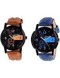 Kajaru KJR-4,6 Round Black And Blue Dial Analog Watch Combo For Men (Pack Of 2)