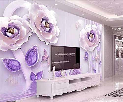 Fototapete 3D Effekt Tapeten Geprägte Lila Mit Gold Umrandeten Blüten Vliestapete Wandbilder Wallpaper Dekoration