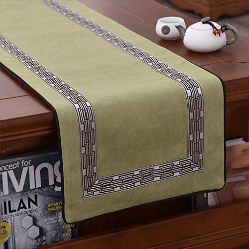 YXN N Tischläufer/Staubschutz/Tischdecke/Lange dekorative Tuch/chinesischen Stil/Servietten/Esstisch Tischsets (Color : Apple Green-, Size : 34×300cm) Apple Serviette