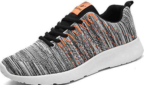 Men's Breathable Lace Up Outdoor Athletic Walking Shoes Grey