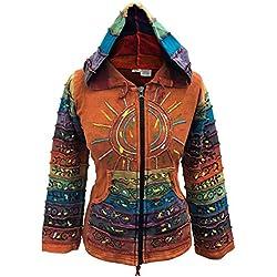 SHOPOHOLIC FASHION - Sudadera con capucha, diseño hippy con rayas, multicolor naranja naranja X-Large