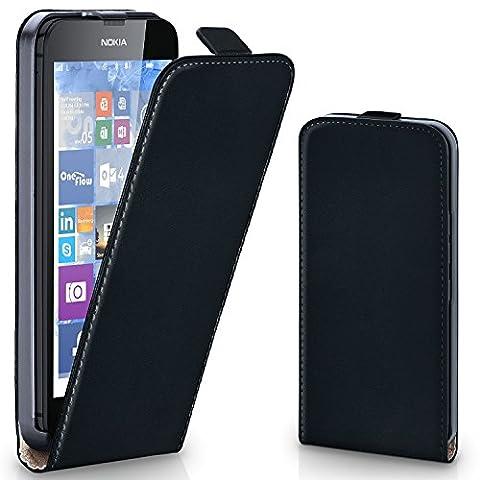 Nokia Lumia 630 Hülle Schwarz [OneFlow 360° Klapp-Hülle] Etui thin Handytasche Dünn Handyhülle für Nokia Lumia 630/635 Dual SIM Case Flip Cover Schutzhülle Kunst-Leder