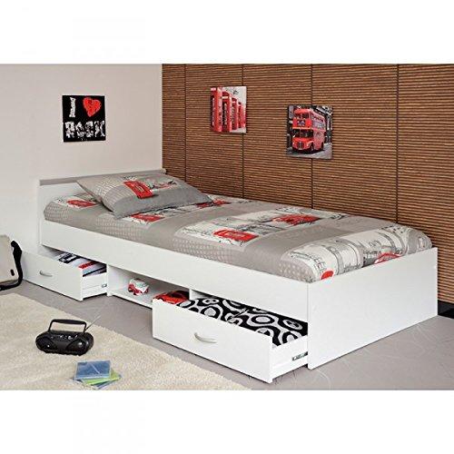 Funktionsbett inkl Matratze + Lattenrahmen 90*200 cm 2 Roll-Bettkästen weiß Kinderbett Jugendbett Jugendliege Bettliege Bett Kinderzimmer