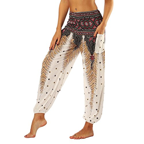 Nuofengkudu Mujer Pantalones Hippies Tailandeses Estampado