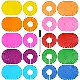 Blulu 50 Piezas de Separadores de Tallas Coloridos de Ropa Separador de Armario Redondo en Blanco con Rotulador