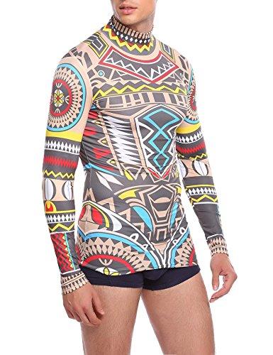 Coofandy Kostüm Herren Karneval Damen Shirt Sexy Gruselig Tattoo Shirt Tribal-Tattoo Pullover Bunt Tribalshirt Oberteil Tätowierung Kostüm für Party Langarm Halloween Fasnet Fasnacht Blau