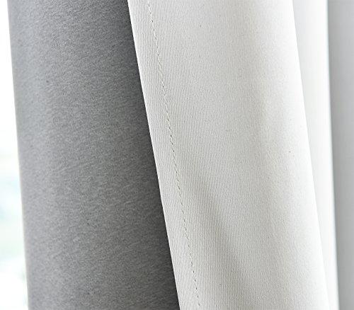 WOLTU® #488-2 2 x Gardine Vorhang blickdicht mit Ösen , 2er Set Verdunkelungsvorhang Verdunkelungsgardine , leicht schwere Vorhang Ösenschal , 135×225 cm , Weiß - 3
