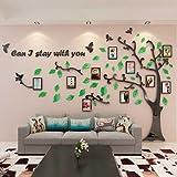 GOUZI Il creative acrilico alberi 3D stereo divano Decorazione di sfondo photo frame, l'uccello scuro albero foglia verde + 黒 bastoni in versione destra della parete amovibile adesivo per camera da letto Soggiorno parete di sfondo bagno studio Barber Shop