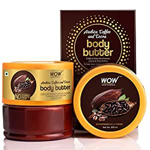 WOW Skin Science Arabica Coffee and Cocoa Body Butter for Toning, Brightening & Softening Dry & Sensitive Skin - No Parabens, Silicones, Mineral Oil & Color - 200mL