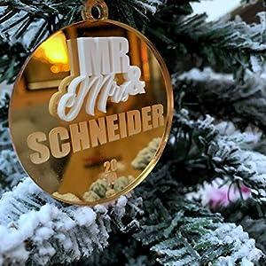 Weihnachtskugel Mr & Mrs personalisiert mit Namen und Hochzeitsdatum