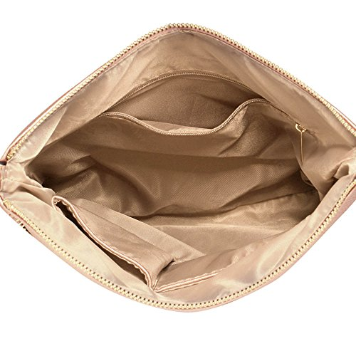 Damen Kreuz Körper Handtaschen Damen Faux Leder Tasche Vorderseite Reißverschluss Tasche Einstellbar Lange Schulter Starp Gold Metall Arbeit Einschließlich Zwei Öffnen Champagner