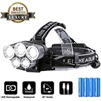 OUTERDO Rechargeable Head Torch,LED Headlamp (15000LM, 4 Batteries) Flashlight Helmet Light Waterproof,Adjustable Angle Warning Light For Rescue/Camping/Fishing - Al alloy light head (Radiating)