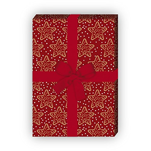 Winter Weihnachtspapier/Geschenkpapier zu Weihnachten mit Ornament Sternen, rot, für tolle Geschenk Verpackung und Überraschungen (4 Bogen, 32 x 48cm)