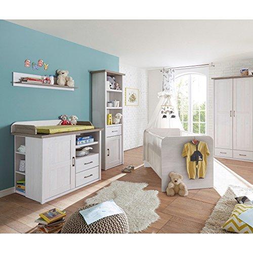 Babyzimmer Komplettset Luca 5 Teilig Pinie/weiß/Trüffel Babybett  Wickelkommode Schrank Regal