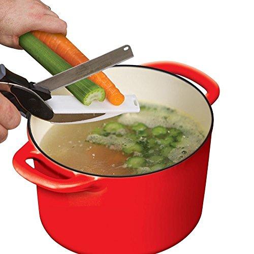 Takestop® 2 in 1 forbici cutter senza tagliere taglia affetta sminuzza verdure coltello da cucina in acciaio inox