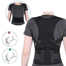 ZJchao Haltungskorrektur Geradehalter Ultradünn Atmungsaktiv Superelastisch Rückenbandage zur Schulter Rücken Taille für Männer und Frauen (Taillenumfang für 80cm-120cm) (Schwarz, L)