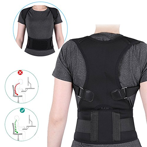 Haltungskorrektur Geradehalter Ultradünn Atmungsaktiv Superelastisch Rückenbandage zur Schulter Rücken Taille für Männer und Frauen (Taillenumfang für 80cm-120cm) (Schwarz, S) (Haltung T-shirt)