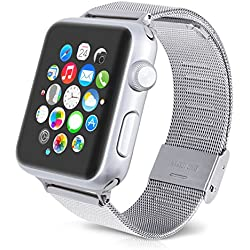 kwmobile Elegant Metal Strap for Apple Watch 42mm (Series 1 / Series 2) made of stainless steel in silver (design 1)
